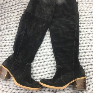 Lucky Brand Black Suede Rayla Tall Heel Boots